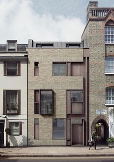 TDO Architecture's new-build townhouse in Chelsea, west London Brick Architecture, London Architecture, Architecture Visualization, Concept Architecture, Residential Architecture, Contemporary Architecture, Brick Facade, Facade House, Building Facade