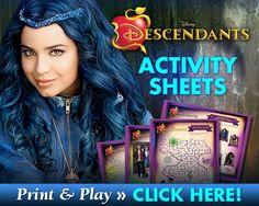 Descendants Activity Sheets - #Descendants - I Am a Mommy Nerd