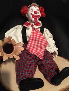 Creepy clown doll! #creepy #doll #clown https://www.etsy.com/listing/258925411/jack-the-creepy-clown-doll-creepy-doll