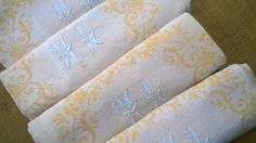 French Empire Napkins Large Size Yellow by SophieLadyDeParis
