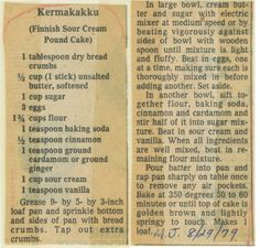 Finnish Pound Cake Recipe Finnish Recipes, Dutch Recipes, Retro Recipes, Old Recipes, Vintage Recipes, Ethnic Recipes, French Recipes, German Recipes, Recipies