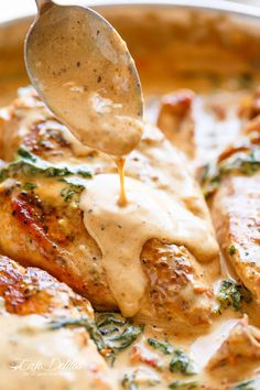 Chicken with Creamy Sun Dried Tomato Parmesan Sauce is PACKED with flavour in a thick and creamy Dijon and parmesan cream sauce. | cafedelites.com