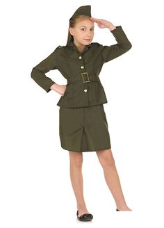 WW2 Army Girl childrens dress up costume by Fun Shack