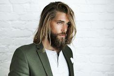 Hair green suit beard