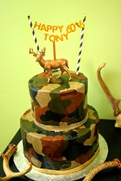 camouflage camo birthday cake for camouflage 60th birthday party for hunter, gold deer, camo, hunting birthday, duck dynasty  - oh deer