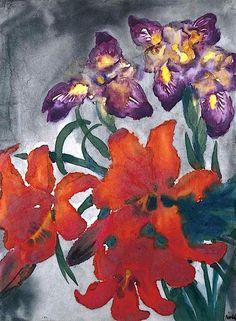 Emil Nolde.  Blumen mit roten und violetten Blüten.