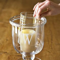 Glass Candle Sleeve #williamssonoma - use sleeve for memory candle