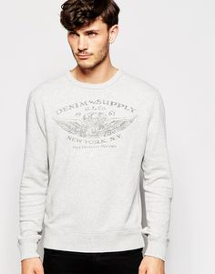 """Sweatshirt by Denim & Supply by Ralph Lauren Loop-back sweat Crew neck Logo print Ribbed trims Regular fit - true to size Machine wash 100% Cotton Our model wears a size Medium and is 185.5cm/6'1"""" tall"""