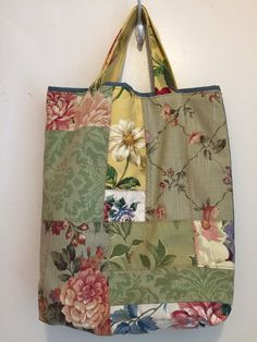 Large Gift Tote Bag, Crazy Quilt, Fabric Gift Wrap, Holidays, Birthday, Home Decor Fabric, Patchwork, Denim, Country Chic, Keepsake - pinned by pin4etsy.com