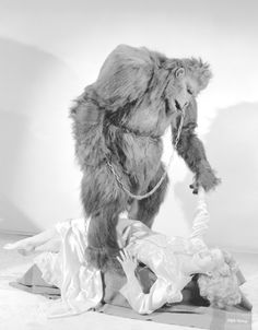 """Publicity still of Ray """"Crash"""" Corrigan as Bongo the Gorilla and Anne Gwynne as Kit Logan Church. """"The Strange Case of Dr. Rx"""", Universal Pictures, 1942"""