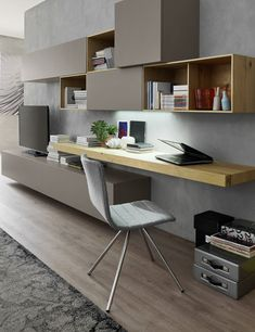 +/- 4000 Euro … Orme TV cabinet with tablet that can run against the wall steps. +/- 4000 Euro (in this version) Small Space Interior Design, Modern Bedroom Design, Home Office Design, Home Office Decor, House Design, Home Decor, Tv Wall Design, Room Interior, Interior Design Living Room