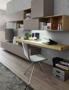 Wohnwand Mit Schreibtisch Wohnzimmer Einrichtung Buero Idee | Wohnwand Mit Schreibtisch Als Arbeitsplatz Im Wohnzimmer