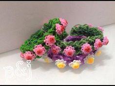 DIY rainbow loom 彩虹橡筋編織中文教學 小玫瑰花環手繩 - YouTube