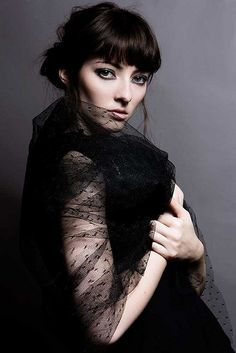 Wrapped in black tulle