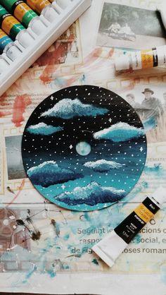 Record Wall Art, Cd Wall Art, Easy Canvas Art, Simple Canvas Paintings, Aesthetic Painting, Aesthetic Art, Cd Diy, Girly Drawings, Vinyl Art