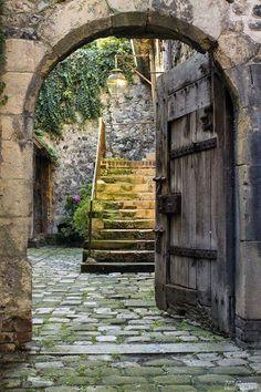 Medieval doorway in Honfleur, Lower Normandy, France Cool Doors, The Doors, Unique Doors, Windows And Doors, Honfleur, France Photos, Door Knockers, Garden Gates, Doorway