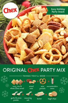 Spend more time with family and friends and less time in the kitchen with our recipe for homemade Original Chex Party Mix! This popular snack is ready in just 15 minutes and full of the traditional flavors that have made it an annual party favorite! Holiday Snacks, Christmas Snacks, Holiday Recipes, Christmas Mix, Snack Mix Recipes, Candy Recipes, Cooking Recipes, Chex Recipes, Snack Mixes
