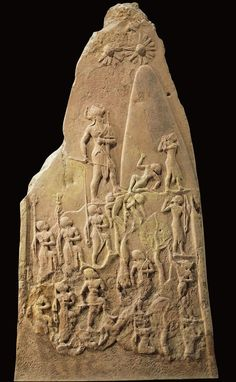 Stele of Naram-Sin: 2200 BCE; Louvre, Paris, France; hierarchy of scale, etc. showing victory over enemies
