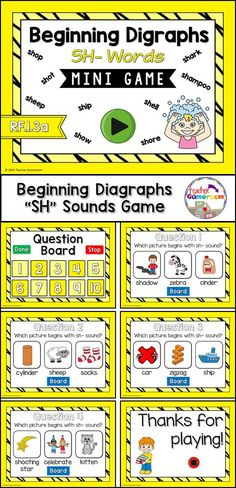 Practice spelling sh digraphs words with this smartboard game. 10 questions makes it great practice for small groups, ELA, or word work centers. CCSS aligned!