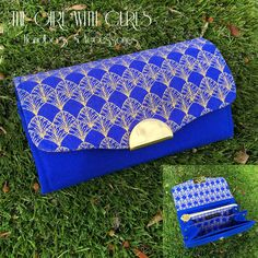 Blue & Gold Wallet made by The Girl With Curls. Pattern NCW by Emmaline