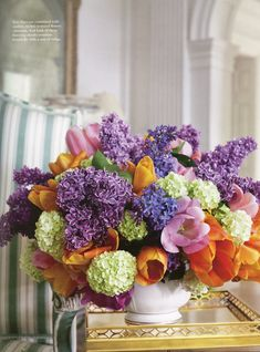 SPRING! Gorgeous lilacs, tulips and hydrangeas. Flowers by Carolyne Roehm