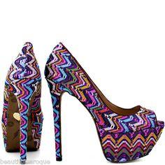 Betsey Johnson Barrdot Sashh Purple Multicolor Peep Toe High Heels