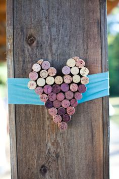 Heart made from wine corks.