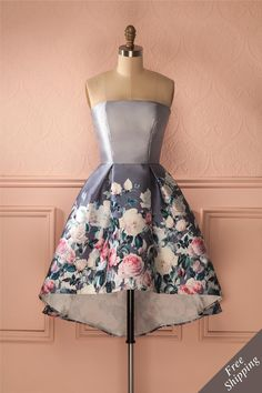 Robe bustier asymétrique bleu gris imprimé fleurs - Stapless high-low flower print blue gray dress