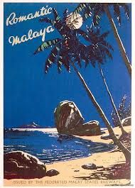 Romantic Malaya | Vintage travel poster Issued by The Federated Malay States Airways