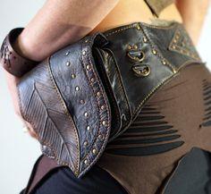 LONGLEAF - Handmade Leather Utility Belt With Pouch Renaissance Festival Hip Pockets Belt Zootzu Belt Burning Man Steampunk Belt - BLACK