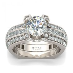 Brilliant Cut Created White Sapphire Two-in-One Rhodium Plating Sterling Silver Engagement Ring / Bridal Ring Set