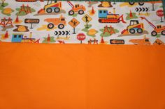 construction trucks pillowcase by ThreeHighChairs on Etsy