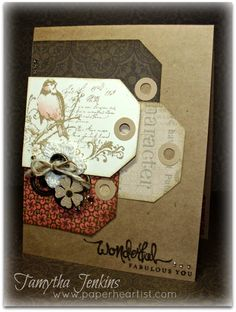 handcrafted card .... kraft with neutral colored tags ... luv the stamping on the tags ... like the design ... Bird Cards, Scrapbooks, Cards For Friends, Heart Cards, Masculine Cards, Card Tags, Card Sketches, Paper Cards, Cute Cards