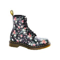 Women's Dr. Martens 1460 8-Eye Boot - Black Vintage Rose Softy T... ($135) ❤ liked on Polyvore featuring shoes, boots, black, casual, originals, black boots, print boots, black leather boots, vintage black boots and black leather shoes
