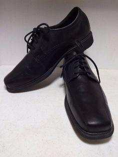 ROCKPORT Mens Shoes 9 Black Shiny Leather Derby Oxfords Dress Shoe Men EUR 42.5 #Rockport #Oxfords #Formal