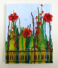 Flower Gardens with Melted Crayon and Bright Flowers by sarijanes, $21.00