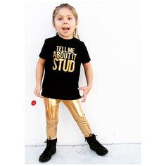 """Little Wonderland Clothing on Instagram: """"Tell me... How much do you love Gold?! <fancy>  Tinley Rock n Rolling with her fancy little threads on <gold rush>  Our Stud tee Now comes in gold <HOLLA> + her fancy gold pants @rhinestonesandtutus  Oh how I love fashion! #babe #fashion #fashionista #kidsfashion #girl #streetwear #fleece #hipkidfashion #trendy #style #igkiddies #stylish #stylishkids #rad #boss #love #ootd #ballerina #logo #love #grease #gold #chic #epic #fashionicon"""