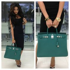 """Today's look @asos.com jersey dress valentino rockstud pumps, rolexDayDateII hermes bracelets and introducing my new Birkin40 straight from Paris in beautiful new color """"malachite"""" #leylamilani #milanihair"""