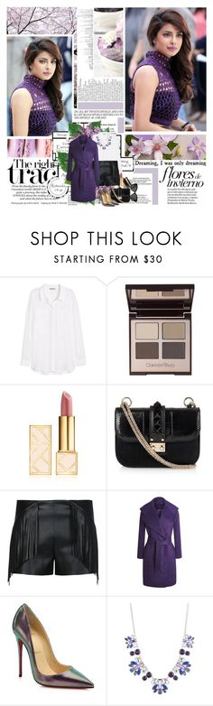 """Priyanka Chopra"" by missoumiss ❤ liked on Polyvore featuring H&M, Charlotte Tilbury, Tory Burch, Valentino, Christian Louboutin, Nine West and Linda Farrow"