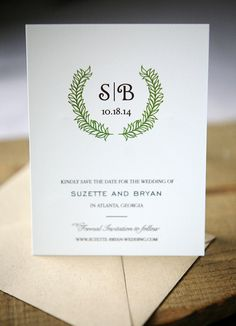 Wedding Save the Dates  Laurel Save the Date Card by FoglioPress, $5.00