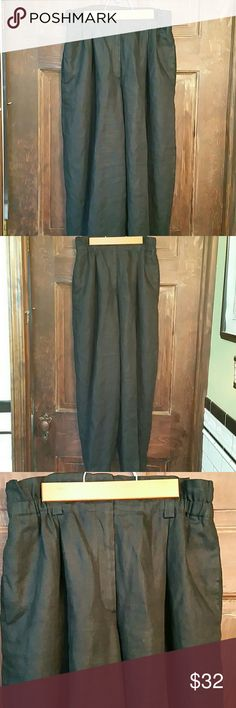LIZ CLAIBORNE PAPERBAG WAIST LINEN PANTS.EUC! Elastic waist w/belt loops and pockets. Wide leg. Substantial year round linen. Perfect casual or work trousers~ Liz Claiborne Pants Wide Leg