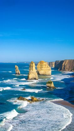 The famous 12 Apostles on the Great Ocean Road in Australia.