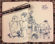 Done while listening to music at a dueling saxaphone jazz show.  Lamy Vista EF with Noodlers 54th Massachusetts.  #urbansketchers #urbansketch #uskchicago #jazz #lamy #fountainpen #moleskine