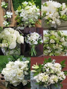Here are 10 of my favorite white wedding blooms:  Orchids, roses, callas, lisianthus, dahlias, lily-of-the-valley, peonies, lilacs, hydrangea & ranunculus. Mix these bloomswith each other, add green accents or select another color for a punch like yellow, burgundy or orange if you want to customize your palette.