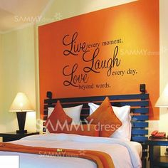 White Orange Bedroom Ideas 7 80 Small Size Beautiful Pvc Wall Sticker Tv Background Room Decor With English Words Pattern Guest