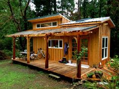 Keva Tiny House, A Smallish Living on Salt Spring Island. Rebecca is tucked away in the woods on Salt Spring Island, B. in her tiny house on wheels. Tiny House Swoon, Tiny House Cabin, Tiny House Living, Tiny House Plans, Tiny House Design, Tiny House On Wheels, Cabin Design, Tiny Backyard House, Tiny House Kitchens