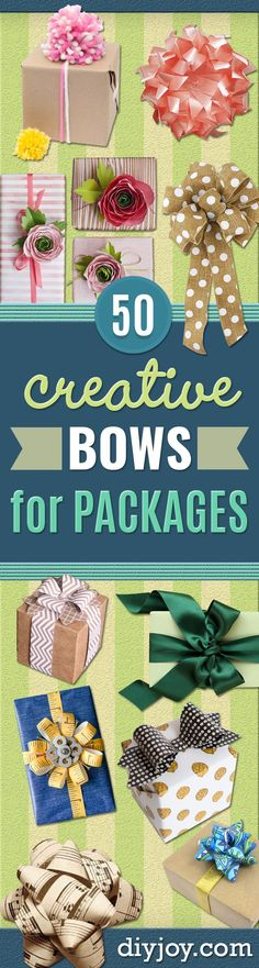 Creative Bows For Packages - Make DIY Bows for Christmas Presents and Holiday Gifts - Cute and Easy Ideas for Making Your Own Bows and Ribbons - Step by Step Tutorials and Instructions for Tying A Bow - Cheap and Crafty Gift Wrapping Ideas on A Budget http://diyjoy.com/diy-bows-gifts-packages