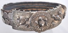 Large silver belt on original belt with Russian silver coins. Dagestan   private collection Linda Pastorino