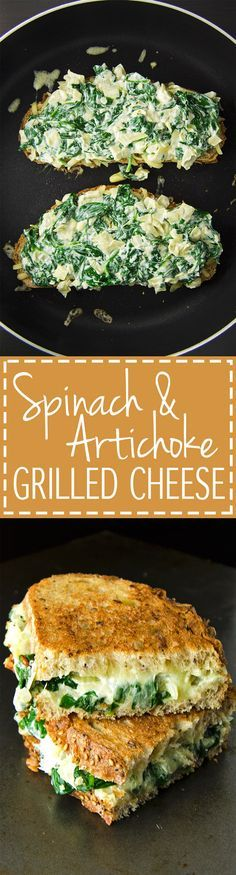 Spinach Artichoke Grilled Cheese Sandwich - Basically spinach artichoke dip smothered between two toasty crunchy pieces of bread. Yum! | RECIPE at NomingthruLife.com