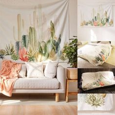 Cotton Cactus Wall Hanging Tapestry Bohemian Dorm Cover Beach Towel Throw Blanket Picnic Cloth Yoga Mat Home Room Decoration Bohemian Dorm, Bohemian Bedspread, Bohemian Living, Home Wall Art, Wall Art Decor, Room Decor, Indian Home Decor, Unique Home Decor, Indian Tapestry